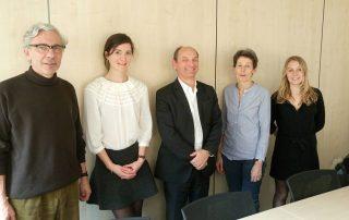 De gauche à droite : Olivier Ribet, Président de la Fondation, Éva Naudon, Olivier d'Agay, Sylvie de Courcelles et Léa Ribet.  Membres du Comité absents sur la photo : Maxime Ribet, David Appelbaum